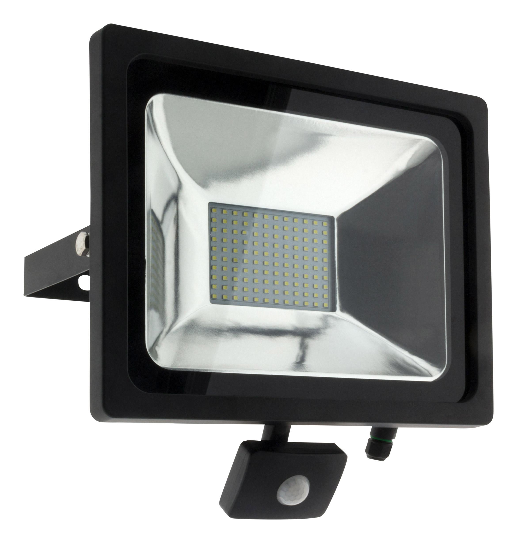 projecteur led 50w noir avec d tecteur ip44 ce ebay. Black Bedroom Furniture Sets. Home Design Ideas
